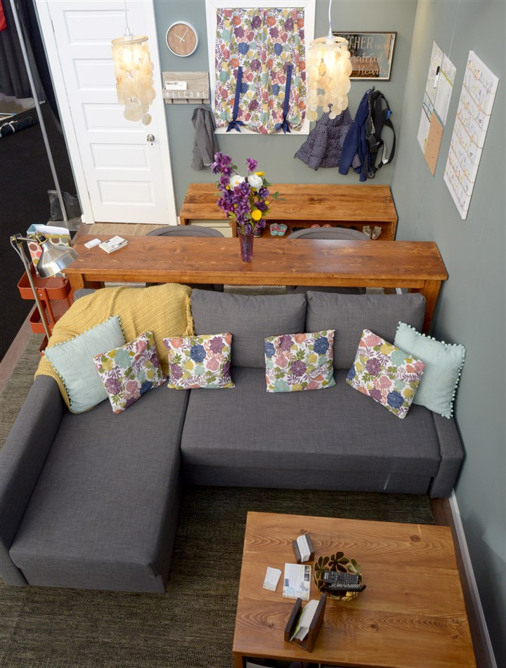 20170310ppDesignerShowcase4MAG-3 Erin M. Faith of Faith Color Consulting and Design in Swissvale created a small family room with storage as one of the three Designer Showcase rooms at the Duquesne Light Home & Garden Show.