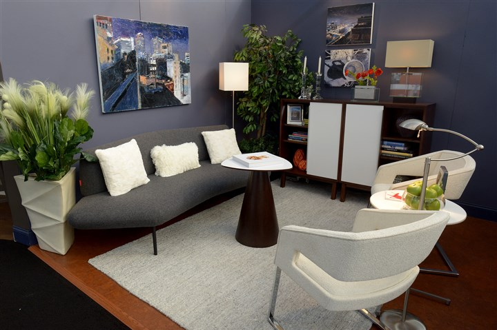 20170310ppDesignerShowcase2MAG-1 Nancy L. Drew with Drew Designs Ltd. in Regent Square designed a 200-square-foot urban living room as one of the three Designer Showcase rooms at the Duquesne Light Home & Garden Show at the David L. Lawrence Convention Center.