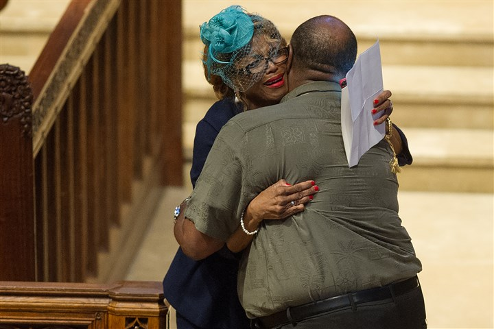 web20170311rldStarzlMemorial01 (Copy) Joy Starzl hugs her brother, Carlos Conger, after giving a remembrance of her husband, Dr. Thomas Starzl, during a memorial service Saturday at Heinz Chapel in Oakland. Dr. Starzl, a pioneer in organ transplantation, died on March 4.