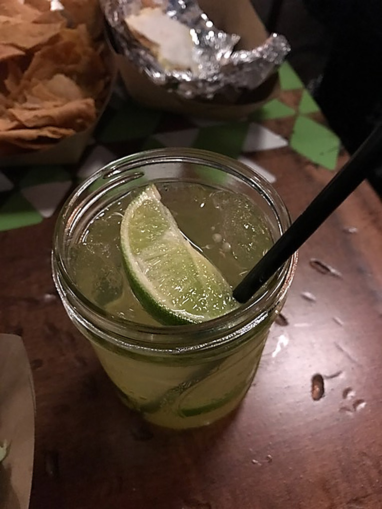 condado taqueria delicioso-2 Delicioso is made with house margarita, muddled jalapeno and cucumber and a splash of soda.