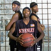 "From left, DeJuan Blair, D.J. Kennedy and Jamaal ""Onion"" Bryant led Schenley to a state championship in 2007."