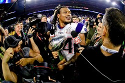 Linebacker Dont'a Hightower, pictured here after Super Bowl LI, has designed to re-sign with the Patriots.