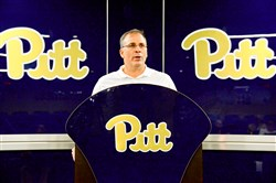 Pitt football coach Pat Narduzzi talks about spring practice Wednesday afternoon on the South Side.