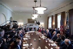 President Donald Trump speaks during a meeting with his Cabinet in the White House on March 13.