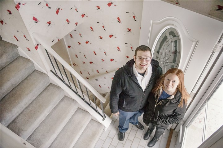 20170314hnHomebuyers-5-4 First-time homebuyers Josh Tobolski, 26, and his fiancee, Denise Dougherty, 22, are in the process of buying this home in Ross. The sellers left a note in the house to tell potential buyers what they have enjoyed about the home and neighborhood.