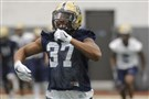 Pitt running back Qadree Ollison, a former ACC rookie of the year, goes through a drill Thursday on the first day of spring camp.