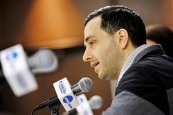 Robert Morris coach Charlie Buscaglia speaks during a news conference Thursday at Notre Dame.