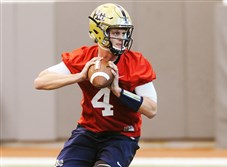 Pitt quarterback Max Browne throws during practice Thursday morning on the South Side.