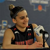 Anna Niki Stamolamprou answers questions during a press conference on Thursday at Notre Dame before the Colonials' first-round NCAA tournament game against the Fighting Irish.