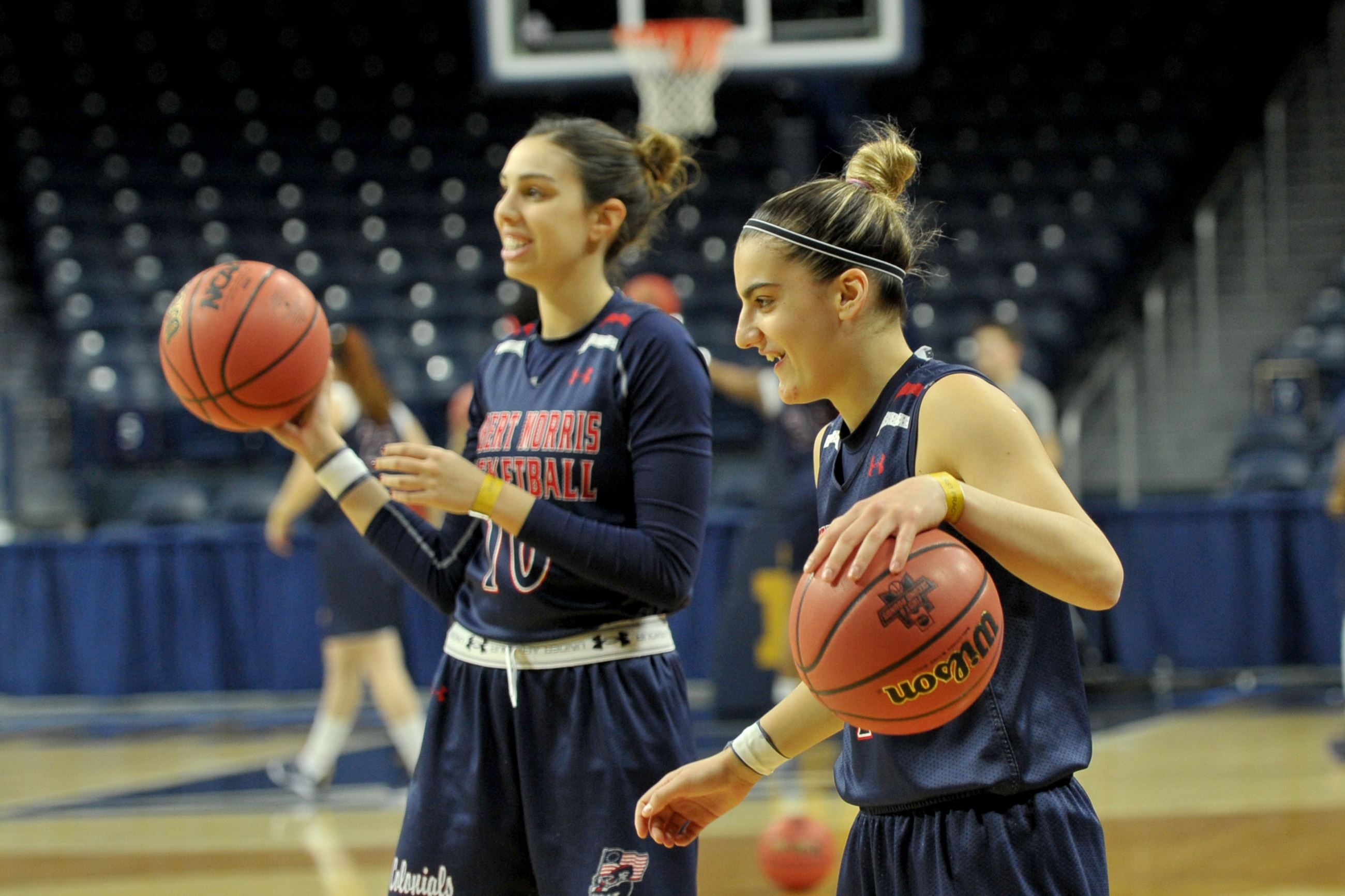 20170316ppRMUNCAA9SPTS-4 Robert Morris&#39 Anna Niki Stamolamprou right and Rebeca Navarro practice Thursday at Purcell Pavilion