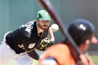 Drew Hutchison pitches to the Orioles' Johnny Giavotella in the first inning Friday at LECOM Park in Bradenton, Fla.