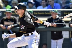 Outfield prospect Austin Meadows hits in a Pirates spring training game March 17 at LECOM Park in Bradenton, Fla.