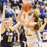 North Allegheny's Madelyn Fischer looks for her shot against in a PIAA victory against Mt. Lebanon Thursday night.
