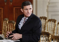 In this Feb. 10 file photo, then-National Security Adviser Michael Flynn sits in the East Room of the White House in Washington.