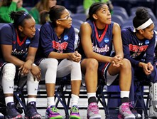 Robert Morris' Shakema Dashiell, Jocelynne Jones, NNeka Ezeigbo and Janee Brown watch from the bench late in the fourth quarter of the Colonials' loss to Notre Dame in the NCAA women's tournament Friday night at Notre Dame.