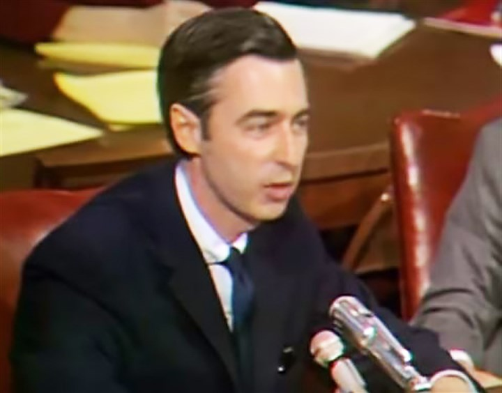 FredRogers.JPG Fred Rogers testifies before a U.S. Senate subcommittee on communications May 1, 1969.