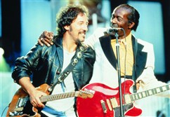 Bruce Springsteen and Chuck Berry opening the Rock and Roll Hall of Fame concert in Cleveland in 1995.