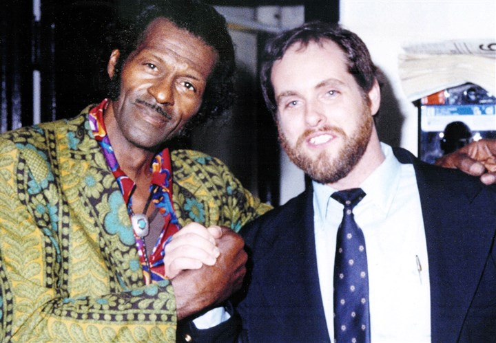 "20140220HORoots2-1 Chuck Berry and Henry DeLuca in 1982. DeLuca recalls there were difficulties, but Berry's performance ""was fantastic."""