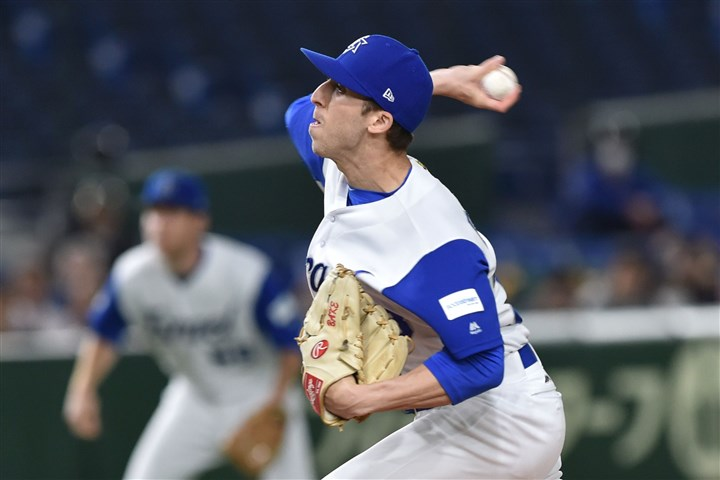 coreybaker0319C Corey Baker of Israel, formerly of Pitt, throws against the Netherlands during the World Baseball Classic on Monday in Tokyo.