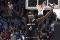 South Carolina's Rakym Felder reacts after making a 3-point basket against Duke in the Gamecocks' win.