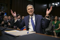 Judge Neil Gorsuch, President Trump's nominee for the Supreme Court, on the first day of his confirmation hearing before the Senate Judiciary Committee on Capitol Hill, in Washington, March 20.