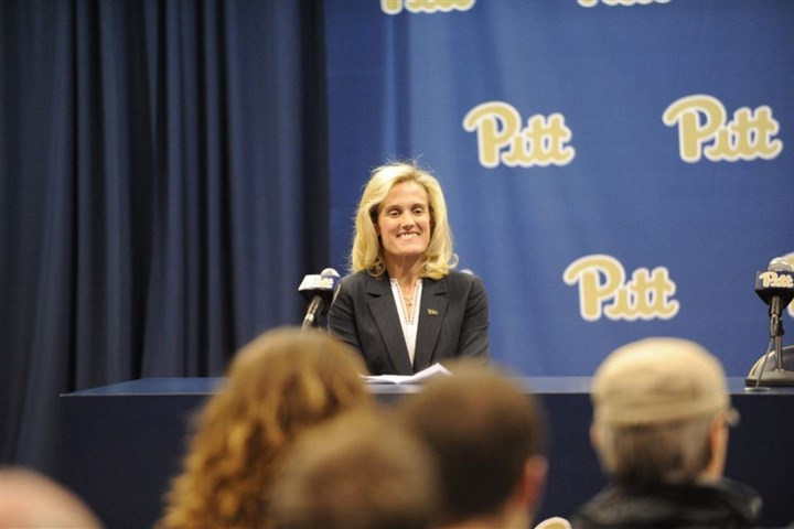 WEB Heather Lyke 032017 Pitt athletic director Heather Lyke sits at a podium at her introductory news conference Monday at Petersen Events Center.
