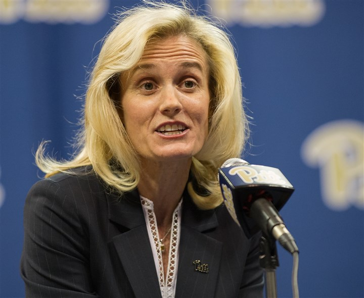 20170320rldHeatherLyke09-8 Heather Lyke is introduced as the new athletic director at the University of Pittsburgh Monday.