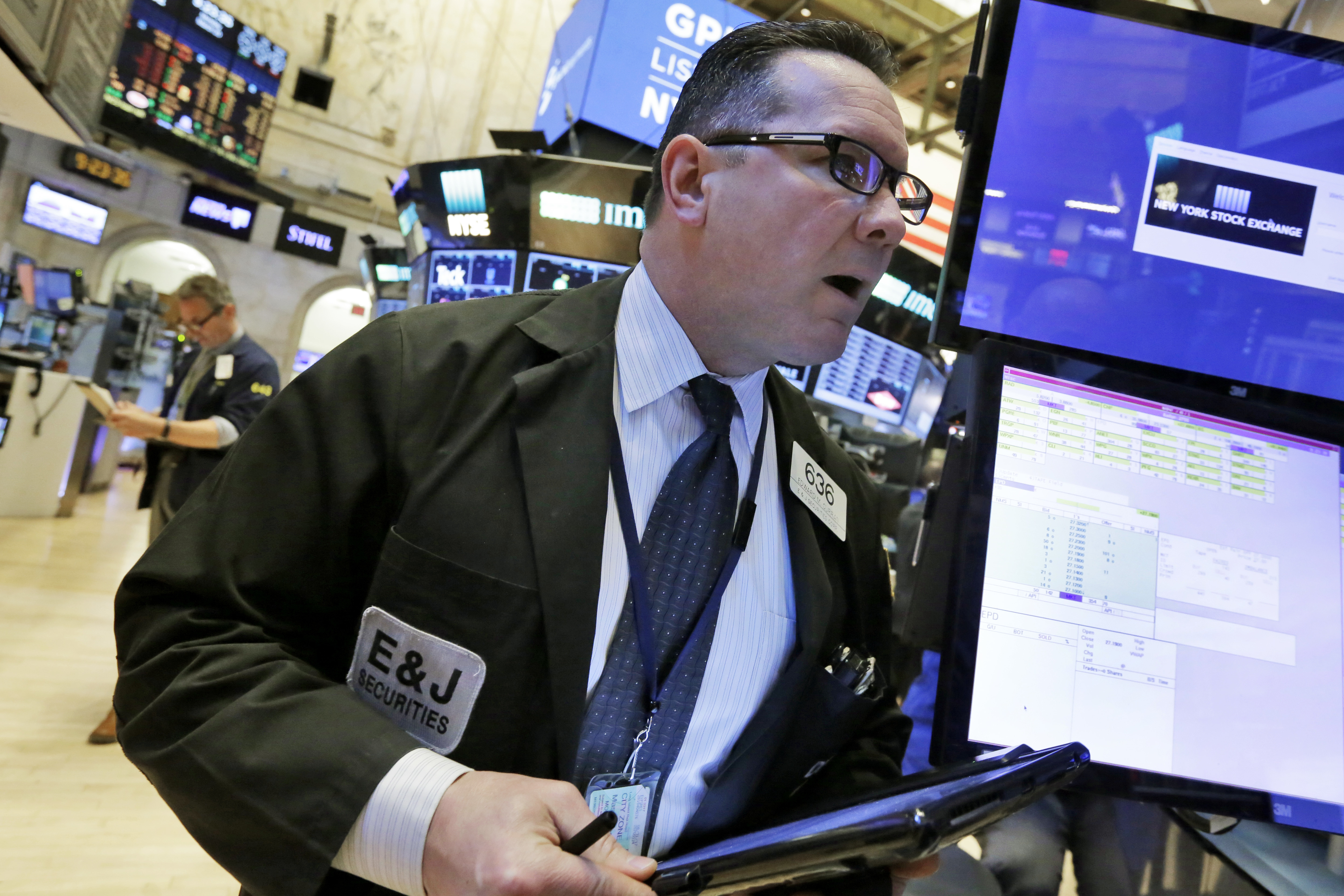 Financial Markets Wall Street Trader Edward Curran works on the floor of the New York Stock Exchange, Monday, March 20, 2017. U.S. stocks are opening slightly lower, led by losses in banks after Britain announced it will formally trigger the process of leaving the European Union. (AP Photo/Richard Drew)