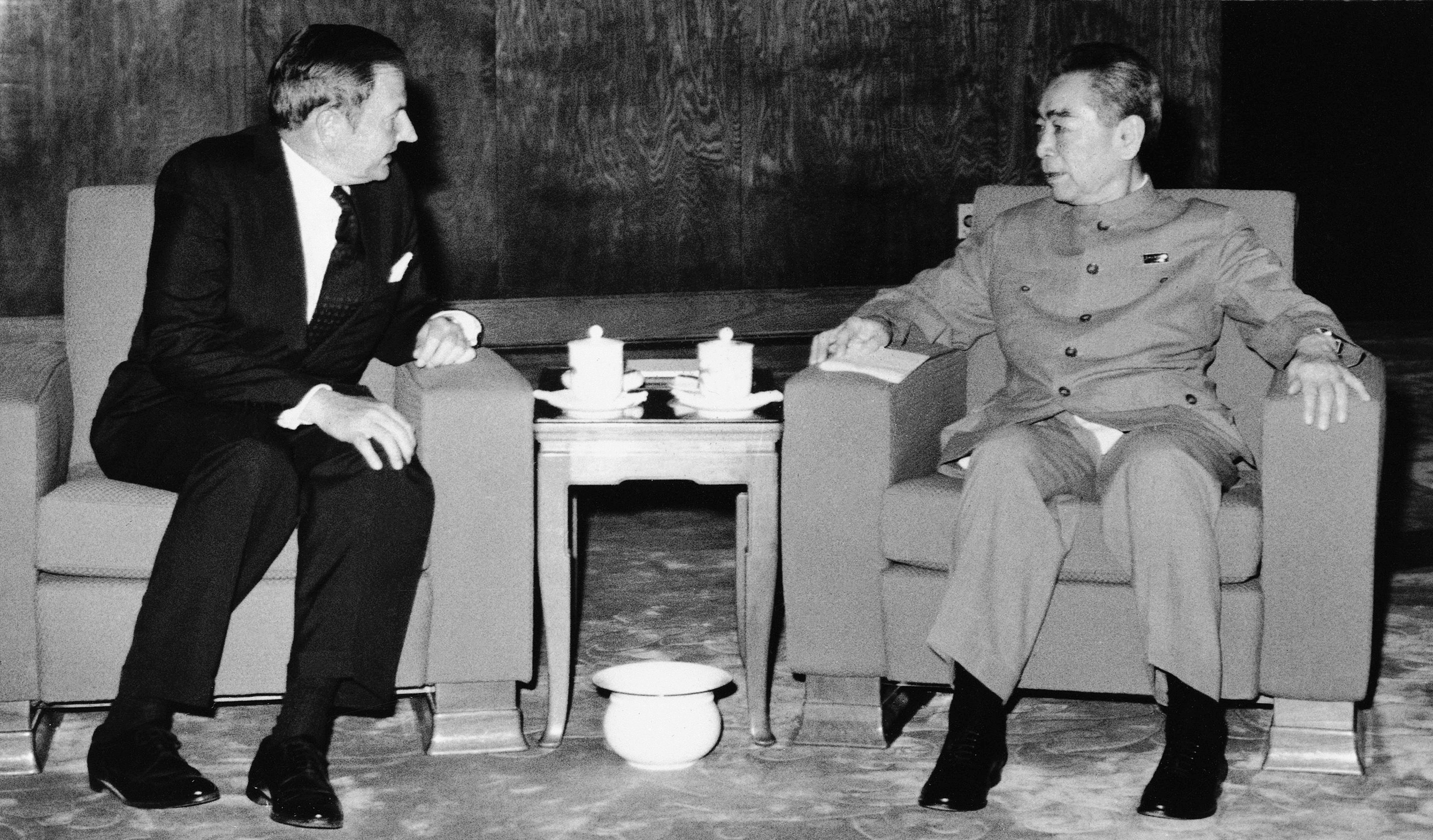Obit David Rockefeller-2 FILE - In this June 1973, file photo, David Rockefeller, left, meets with with Chinese Premier Chou En-lai in Peking. The billionaire philanthropist who was the last of his generation in the famously philanthropic Rockefeller family died Monday, March 20, 2017, according to a family spokesman. (AP Photo/File)