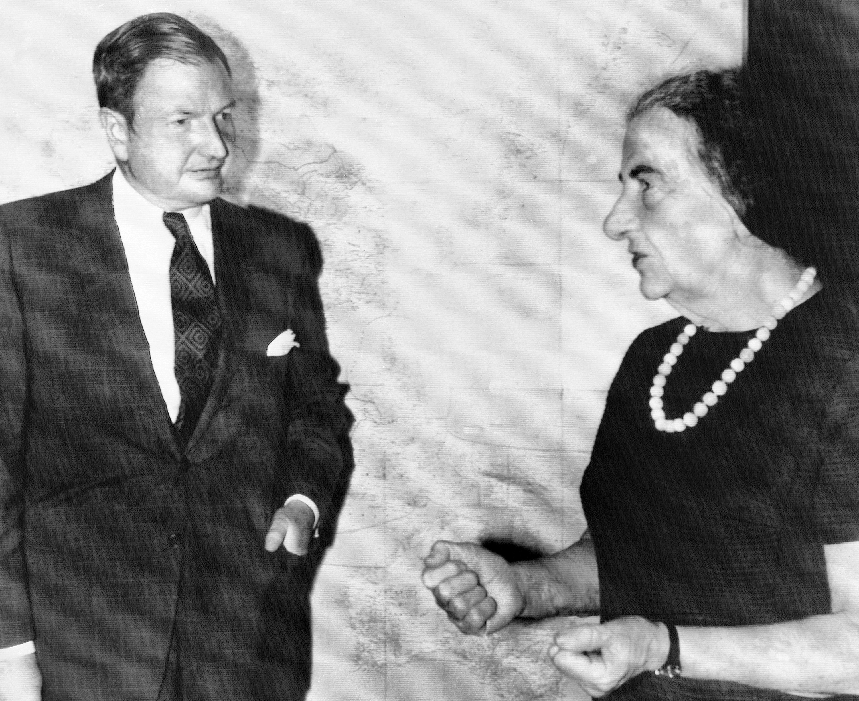 Obit David Rockefeller-4 FILE - In this March 10, 1971, file photo, David Rockefeller, left, chairman of the Chase Manhattan Bank, talks with Israeli Prime Minister Golda Meir after his arrival in Israel. The billionaire philanthropist who was the last of his generation in the famously philanthropic Rockefeller family died, Monday, March 20, 2017, according to a family spokesman. (AP Photo/File)