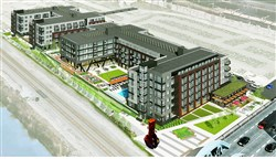 An artist's rendering of the Station Square project shows an aerial view looking southeast.