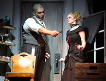 "Devon Moore as Sweeney Todd and Emily Schneider as Mrs. Lovett in the Chartiers Valley High School 2017 spring musical ""Sweeney Todd: The Demon Barber of Fleet Street."""