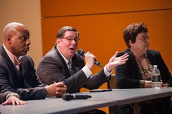 City of Pittsburgh mayoral candidates, from left, Rev. John Welch, Mayor Bill Peduto and Councilwoman Darlene Harris take the stage during a candidate forum hosted by he Hill District Consensus Group & the Black Political Empowerment Project Wednesday, March 22, 2017, at the Hill House in the Hill District.