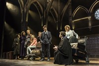 "In this scene from the blockbuster London production of ""Harry Potter and the Cursed Child,"" Rallying the troops to combat evil, Jamie Parker (Harry) questions Sam Clemmett (as his son, Albus, right). Also pictured, second from left, Noma Dumezweni (Hermione Granger Weasley) and Paul Thornley (Ron Weasley), and on the right, Poppy Miller (Ginny Weasley Potter)."