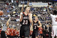 Sewickley Academy's Nate Ridgeway celebrates after getting fouled late in the PIAA Class 2A championship game Friday against Constitution.