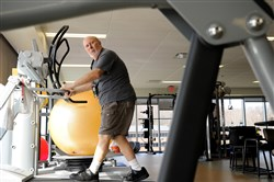 Jack Waclawski, 71, of Glenshaw exercises on a treadmill at the Allegheny Health Network Wexford Health + Wellness Pavilion in Wexford on Friday, March 24, 2017. Waclawski had a stem heart procedure in 2017.