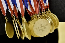 PIAA Class 2A boys basketball championship medals.