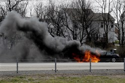 A car fire Friday morning backed up traffic on I-79 and the Parkway North.  No serious injuries were reported.