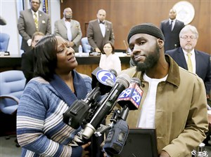 Ibn Ali Miller alongside his mother, Sabrina Winters, at Atlantic City Council on Wednesday.