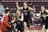 Sewickley Academy teammates celebrate after defeating Constitution in the PIAA class 2A championship last Friday in Hershey.