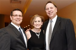 From left, Interim executive director Mike Printz,  event chair Helen Wylie and board chair Randy Struk.