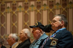 Vietnam War veteran Lt. Col. Barry D. Gasdek, right, 74, of Laramie, Wyo. sits beside World War II veteran Motor Machinist's Mate 2nd Class David E. Mccosker during the ceremony to be inducted into the Hall of Valor at Soldiers & Sailors Memorial Hall and Museum Sunday, March 26, 2017 in Oakland. Mr. Gasdek was born and raised in Derry, Westmoreland County.