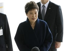 In this March, 21 file photo, South Korea's ousted leader Park Geun-hye arrives at a prosecutor's office in Seoul, South Korea.
