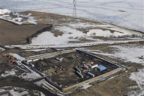 An aerial photo taken in February shows where the final phase of the Dakota Access Pipeline will take place.