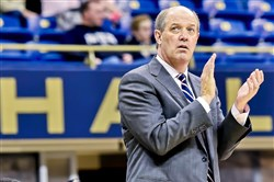Matt Freed/Post-Gazette Pitt head coach Kevin Stallings was pleased with his team's defensive effort against Oklahoma State Tuesday.