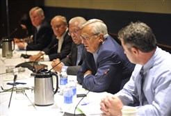 Penn State Trustee Al Lord, second from right, speaks during a Penn State Board of Trustees meeting ub Aug. 2014, in State College, Pa.