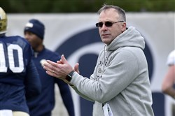 Pitt head coach Pat Narduzzi watches over spring practice March 30.