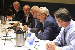 Penn State University trustee Al Lord, second from right, speaks during a Penn State Board of Trustees meeting in Aug. 2014, in State College, Pa.