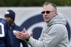 Pitt football coach Pat Narduzzi watches over spring practice Thursday at the UPMC Rooney Sports Complex on the South Side.