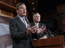 Senate Intelligence Committee Vice Chairman Sen. Mark Warner, D-Va., left, with Committee Chairman Sen. Richard Burr, R-N.C., speaks during a news conference on Capitol Hill in Washington Wednesday about their panel's investigation of Russian interference in the 2016 election.